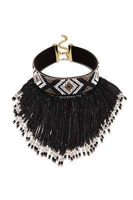 Aztec chain fringe choker necklace