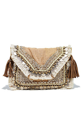 Embellished fringe clutch
