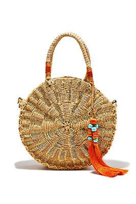 Woven gold circle bag