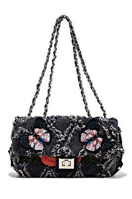 Denim embroidered handbag