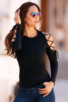 Lace-up shoulder ribbed top