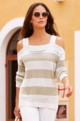 Stripe cold shoulder open knit sweater