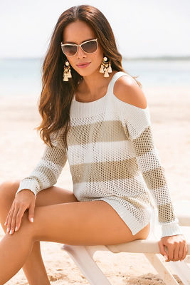 Stripe cold shoulder open knit sweater