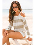 Stripe Cold Shoulder Open Knit Sweater Photo