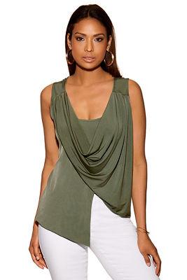 Asymmetric draped knit top