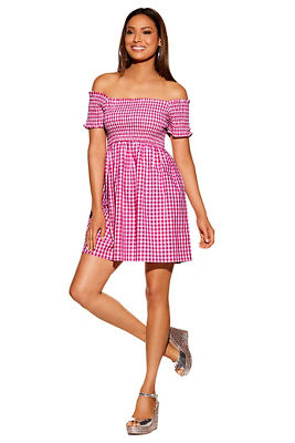 529b9fc468 Display product reviews for Gingham smocked off-the-shoulder dress