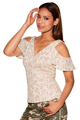 sequin lace cold-shoulder blouse
