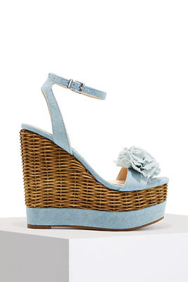 three dimensional floral denim wedge