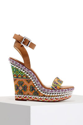 embroidered studded wedge heel