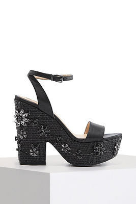 Floral beaded wedge heel