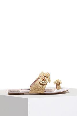 floral straw sandal