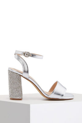 sparkle chunky ankle strap heel