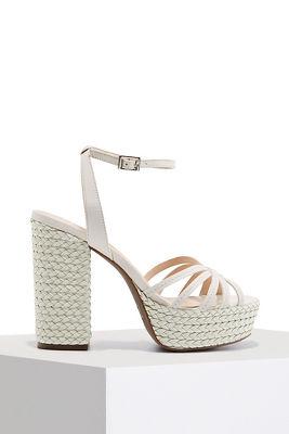 woven chunky heel