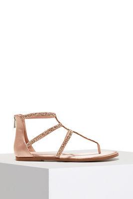 Shimmer strappy flat sandal