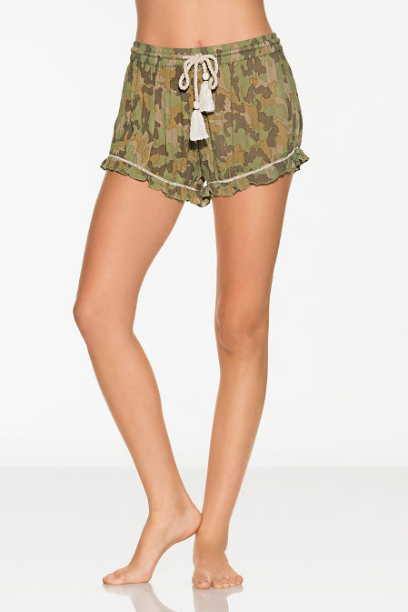 Camo ruffle shorts image