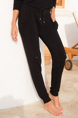Distressed sequin jogger