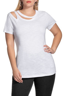 Display product reviews for Cutout neck slub boyfriend tee
