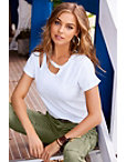 Cutout Neck Slub Boyfriend Tee Photo