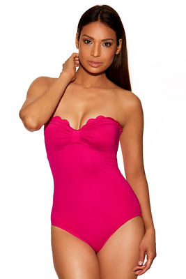 Scalloped strapless one-piece bandeau swimsuit