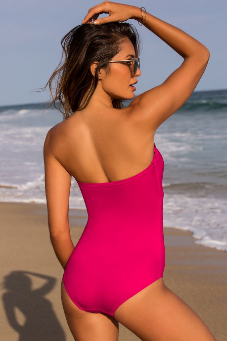Scalloped strapless one-piece bandeau swimsuit image