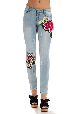 3D floral applique ankle jean