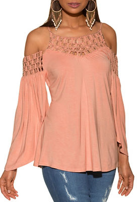 beaded cold shoulder flare sleeve knit top