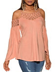 Beaded Cold Shoulder Flare Sleeve Knit Top Photo