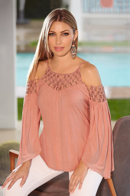 Beaded cold shoulder flare sleeve knit top image