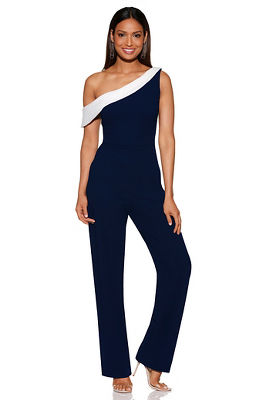 Colorblock one-shoulder jumpsuit