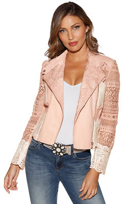 Colorblock lace jacket