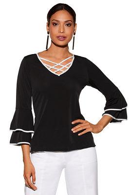 Contrast crisscross knit top
