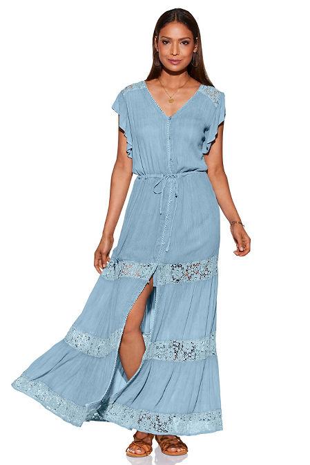 Crochet inset button maxi dress image