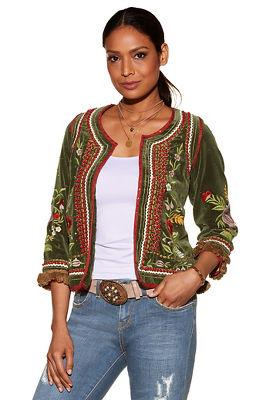 Embroidered velvet fringe jacket
