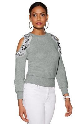 Embellished Cold Shoulder Sweatshirt