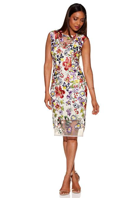 Embroidered v neck illusion sheath dress image
