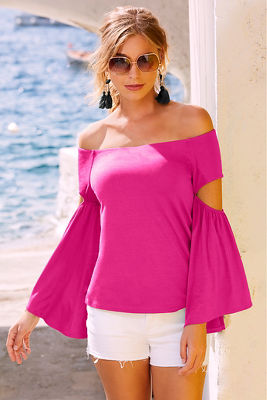 Display product reviews for Flare sleeve slit off-the-shoulder top
