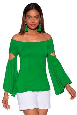 Flare sleeve slit off-the-shoulder top