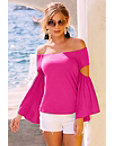 Flare Sleeve Slit Off-the-shoulder Top Photo