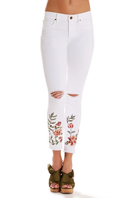 floral embroidered raw hem skinny jean