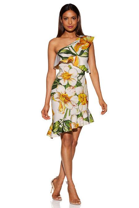 Floral one shoulder ruffle dress image