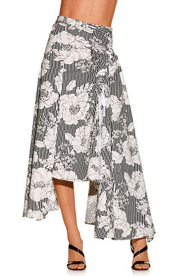 Floral stripe skirt