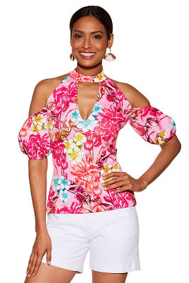 Floral keyhole cold-shoulder top