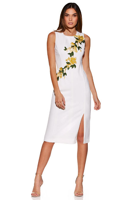 Flower embroidered sheath dress image