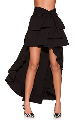 full ruffle asymmetric skirt