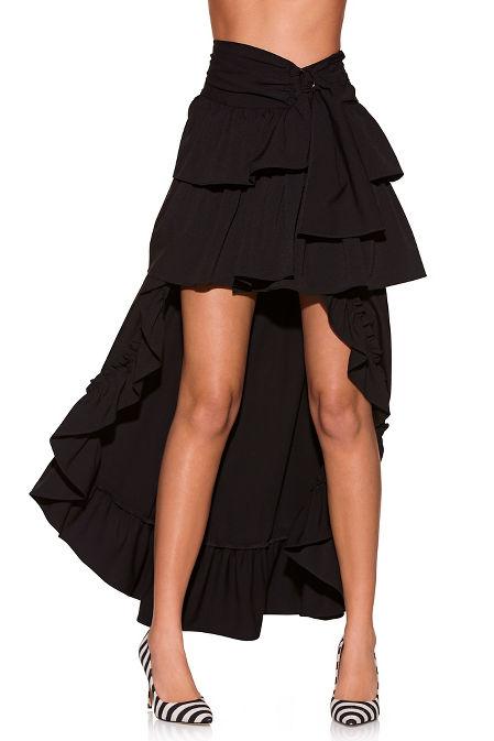 Full ruffle asymmetric skirt image