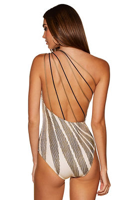 gold print one shoulder one-piece swimsuit