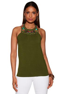 Jeweled neckline knit top