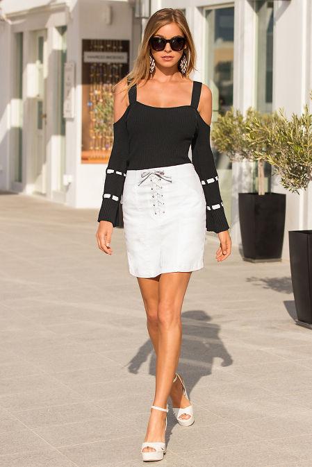 Lace-up mini skirt image