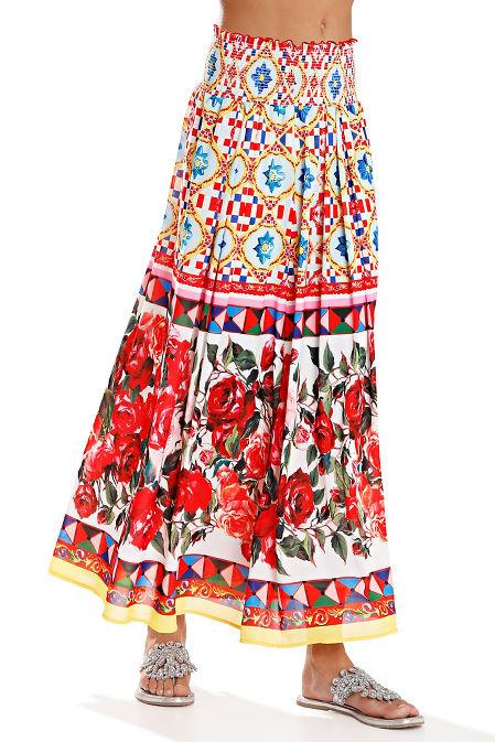 Mixed print maxi skirt image