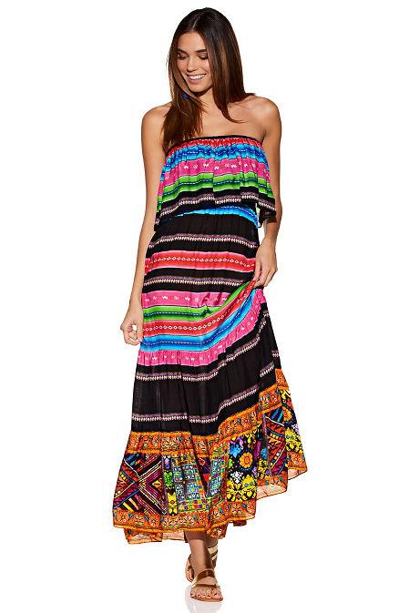 Multistripe strapless maxi dress image